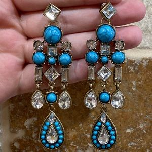 Faux Turquoise and Diamond NFR Blingy Earrings